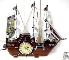 Wood&Chrome Electric Figural CLOCK - SHIP