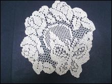 Antique Filet Lace Doily Butterfly and Roses