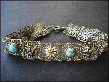 Antique Filigree Bracelet Silver Tone