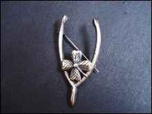 Sterling Brooch Wishbone Four Leaf Clover