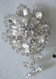 Diamante Crystal Brooch Signed Sherman