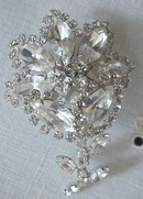 Diamante Crystal Brooch Signed Sherman