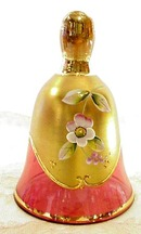 Antique Cranberry & Gold Art Glass Fancy BELL