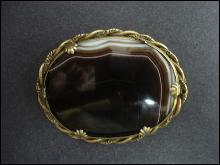 Antique Scottish Ribbon Agate Oval Brooch