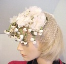 ANTIQUE HAT 20's White Flowers with Net