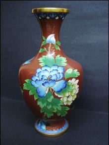 Large Vintage Cloisonne Vase - Floral