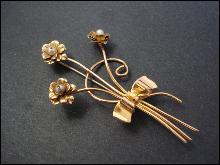 Silver Brooch by Coro  - Golden Bouquet with Bow - Gold Plate on Silver