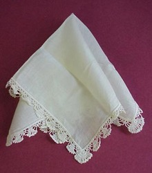Antique Wedding Hanky - Lace Trim - Snow White