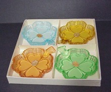 Set/4 Ashtrays Czech. Glass