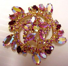 40's PINK IRIDESCENT Large BROOCH