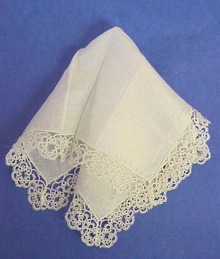 Dreamy White Vintage HANKY Tatted Border
