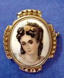 Limoges Porcelain Brooch - Portrait