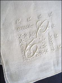 Embroidered Vintage Handkerchief Mono E