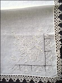 Finest Embroidery Wedding Hanky Lace Border