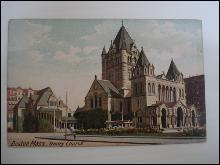 Antique Postcard Trinity Church Boston - Germany No 1858
