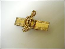 Antique Tie Clip with Clef Musical symbol
