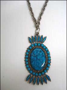 Vintage Pendant Turquoise Color Beads and Stones