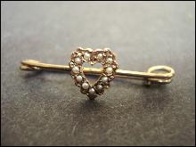 Wonderful Victorian Seed Pearl Pin - Gold Top