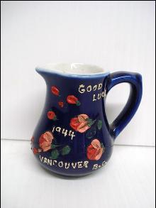 1944 Good Luck Jug Vancouver BC Floral Souvenir Jug