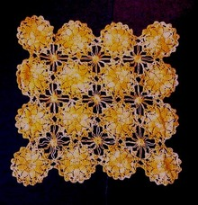 Pretty Crocheted Doily - Orange Flowers