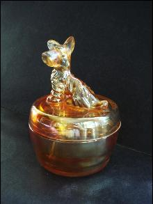 Antique  POWDER VANITY DRESSER JAR SCOTTY DOG Jeannette Glass - Luster Finish