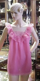 Hot Pink Chiffon Baby Doll Gown