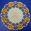 Crocheted Lace Figural Doily PANSY