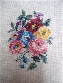 Antique Needlework Picture - Unframed