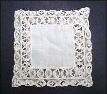 White Linen Doily with Wide Lace Trim-Square