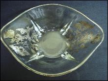 Vintage Silver Overlay Bowl Silver Poppies