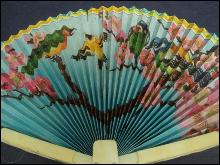 Vintage Celluloid Fan - Colorful - Ivory lake