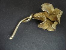 Vintage Coro Large Brooch - Golden Flower - Signed - Gold Tone