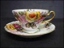 Cup and Saucer - Hand Painted -Occupied Japan