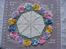 Hand Crocheted Figural Doily PANSY #3