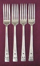 Elegant Silver Dinner Forks    CORONATION    Set of Four