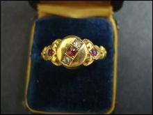 18k Victorian Style Ring Precious Stones