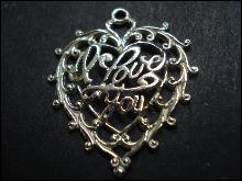 Fantastic  Vintage Silver Pendant -  Silver Heart - I Love You - Filigree Charm or Pendant