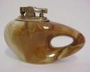 Art Deco Figural Vintage Pottery & Brass Lighter