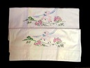 Lovely Embroidered Pair / Pillowcases Vintage
