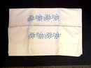 Pair Embroidered Pillowcases BLUE ROSES