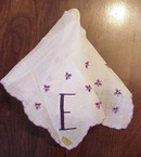 Swiss Embroidered HANKY Purple Violets