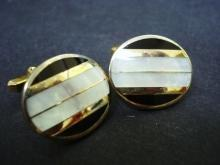 Vintage  Gold  Tone and Pearl Cufflinks - Cuff Links - by Hickok