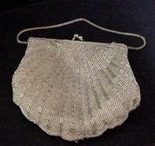 Gorgeous 1950's Beaded Shell Shaped Purse