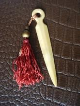 Antique Bookmark - French Ivory - Calluloid - Tassel