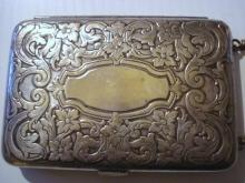 Antique SIlver Purse - Ornate victorian style design - Coin Money - Cards - Powder  - Mirror