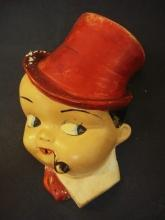 Antique Figural String Holder- Cute - Chalkware - Hand Painted