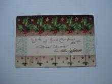 1906 Christmas Postcard - Embossed