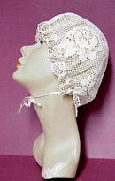 Crocheted Filet Lace Ladies BONNET