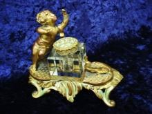 French Antique Inkwell - Bronze, Brass and Enamel - Crystal Ink Bottle