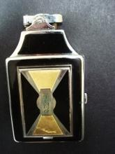 Ronson Art Deco Cigarette Case Lighter and Powder Case - Signed Ronson
